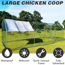 In Poultry Cage Metal Chicken Coop Large Walk Hen Run House Rabbits Habitat Cage
