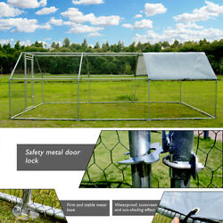 Chicken Dog Large Metal Coop Spire Shaped Hen Run House With Cover Waterproof