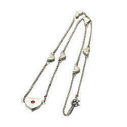 And Co. Sv Heart Pink Sapphire Diamond Necklace 42cm Ps1p Silver 925