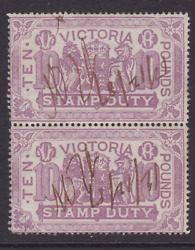 Victoria Rare 1885 £10 Pounds Lilac Qv Stamp Duty Pair Used Sg 279 Cv800lh108
