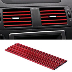 10x Red 20cm Suv Car Interior Air Conditioner Air Outlet Decoration Bright Strip