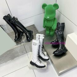 Thick Bottom Lace Up Cow Leather High Boots Casual Shoes Fashion Women 2021 New
