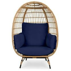 Oversized Patio Lounger Wicker Egg Chair For Indoor Outdoor Cushioned Furniture