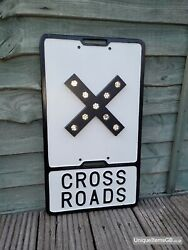 Pre-warboys Cross Roads Road Sign With Glass Reflectors By Gowshall 21 X 12