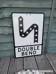 Pre-warboys Double Bend Road Sign With Glass Reflectors 21 X 12