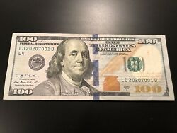 Us 100 Dollar Bill Fancy Serial Number - Circulated Note - S/n Ld 2020/7001