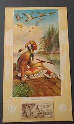 1926 Round Oak Stove Calendar- Indian Peace Pipe Geese- H Herget -full Pad
