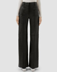 3700 Womens Black Leather Mid-rise Pleated Straight Wide Leg Pants Size M