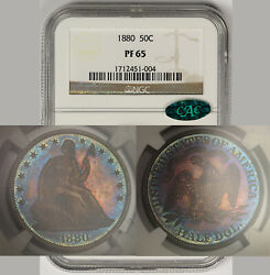 1880 Liberty Seated Half Dollar 50c Proof Pf 65 Ngc Cac Approved Toned