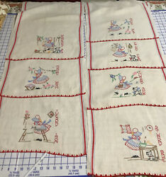 """Vintage 7 Days Of The Week Wonderful Hand Embroidered Pure Linen 17""""x24"""" Towels"""