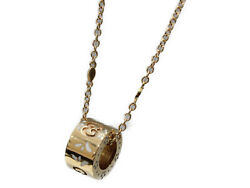 Box And Cloth Bag Icon Eellow Gold Necklace 43453 750 Ladies Vintage