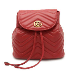 Guccigg Mermont Quilting Rucksack Rucksack Backpack Leather Red Red Gold Bra