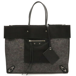 Balenciaga Tote Bag Leather Wool Gray Black Mirror With Black Miller 359482