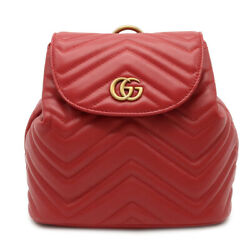 Guccigg Mermont Quilting Rucksack Mini Rucks Backpack Leather Red Red Gold B