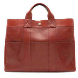 Hermes Foolto Tote Mm All Leather Tote Bag Handbag Box Card Rouge Ach Red Br