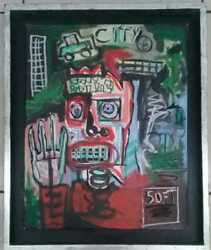 American Jean-michelle Basquiat / Oil Canvas Painting / Signed Reverse / Rare