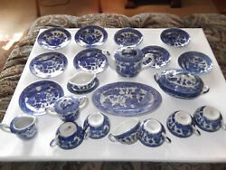 Vintage Made In Occupied Japan Porcelain Blue Willow Childs Tea Set 24 Pieces