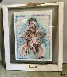 Mother And Kids Original Watercolor Painting Framed Vintage Window 28x32x2