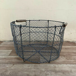 Rare French Laundry Basket Metal Wire Round 14092118