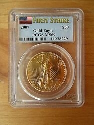 2007 50 American Gold Eagle 1 Oz. Pcgs Graded Ms69 And Certified First Strike