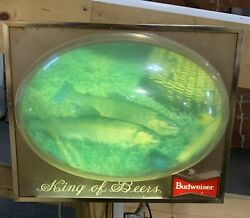 Vtg 1960s Budweiser Beer Trout Fish Bubble Light Up Sign Cabin Fishing
