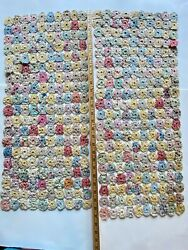 Vintage Antique Hand-stitched Yo Yo Circle Dresser Scarves Or Table Runners