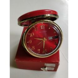 Vintage 20th Rare Japanese Bulova Alarm Clock In Red Lacquer