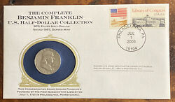 1957 D Franklin 90 Silver Half Dollar, Includes Info Card And Commemorative Stamp