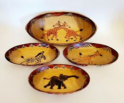 4 African Hand Carved And Painted Wooden Oval Bowls Zebra Giraffe Elephant