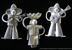 Vintage Set Of 3 Figural Pins Signed Fred Davis Sterling Silver Mexico C1930s