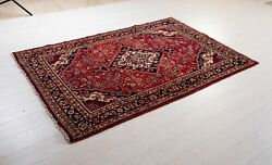 Vintage Rug Red Soft 7and039 X 4and039 6 Collectible Tribal Oriental Wool Carpet