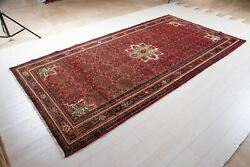 10and039 11 X 5and039 8 Collectible Vintage Rug Faded Red Rustic Oriental Wool Carpet