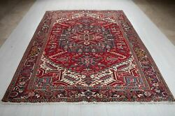 Large Tribal Area Rug Red Geometric 8and039 9 X 6and039 11 Vintage Oriental Wool Carpet