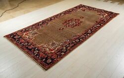 Collectible Brown Vintage Rug 9'9 X 4'10 Hand-knotted Soft Tribal Wool Carpet