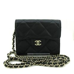 Auth Matelasse Ap0238 Black Caviar Skin Other Style Wallet