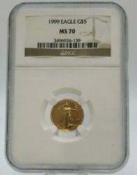 1999 5 Gold American Eagle Ngc Ms70 1/10 Oz Free Shipping