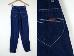 Vtg 70s 80s Landlubber Dark Wash Mom Jeans 23x31 Actual High Waist Pleated Front