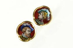 14k Victorian Painted Portrait Statement Screw Back Earrings Yellow Gold 59