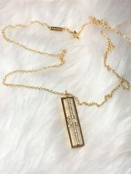 Authentic And Co. 18 Kt Yellow Gold Vertical T Pendant 18 Chain Necklace