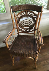 Vtg Antique Cane Style Bentwood Chair Rattan Wicker Seat Rare Ornate Armrests