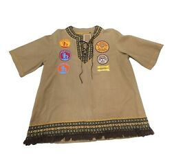 Vintage Indian Guides Dad Poncho Handmade 1976 White Mountain Apache Patches