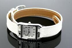 Hermes Cape Cod Watch Ladies Silver Dial White Leather And Box Cc1.210 Double Wrap