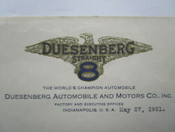 Document Lot 1921 Duesenberg Bros Automobile Beehive Stock Certificate Indy