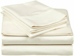 100% Egyptian Cotton Real My Pillow Bed Sheet Set Queen King Ivory Solid