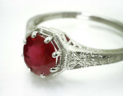 Stunning Art Deco Ring W/ 1.32ct Egl/ugs Cert Untreated Red Ruby 14k White Gold