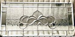 Beveled Etched Lead Clear Ice Glass Window Panel Transom Antique Large 31