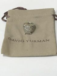 Genuine David Yurman Sterling Silver Ring Size 6 With Diamonds 1.12 Cttw