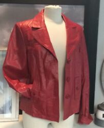 Bianca Red Leather Women's Jacket Retro Contrast Stitch Crinkle Look Size 8 $29.97
