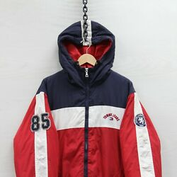Vintage Tommy Jeans Puffer Jacket Size Xl Red And Blue Embroidered Insulated