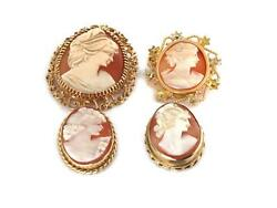 Estate Lot Of 4 Shell Cameo 18k 14k Gold Assorted Size Pendant/pin Liquidation